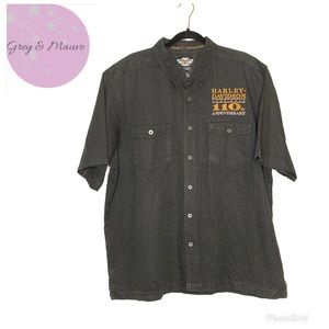 HD 110th Anniversary Spellout Black Denim Shirt